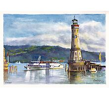 Lindau Lighthouse and Harbour, Germany Photographic Print