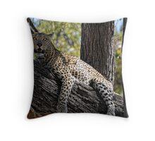 Leopard on tree Throw Pillow
