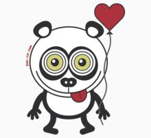 Panda bear showing a heart balloon and feeling crazy in love Kids Clothes