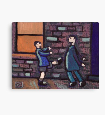 Little brother kicking big brother Canvas Print