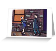 Little brother kicking big brother Greeting Card