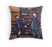 Little brother kicking big brother Throw Pillow