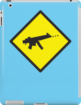 Digital GAMER crossing sign with digital gun rifle by jazzydevil