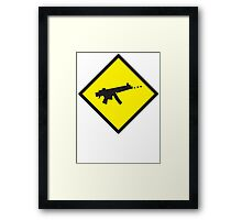 Digital GAMER crossing sign with digital gun rifle Framed Print