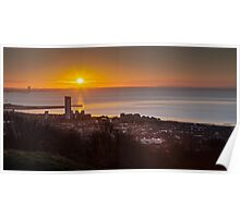 Sunrise on Swansea city south Wales Poster