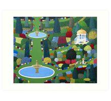 Fountain Garden Art Print
