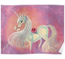 Unicorn In Blush Of Dawn Poster