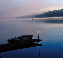 Boat, fog, Lake Joseph, Catskills, NY by fauselr