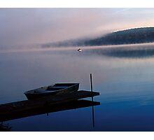 Boat, fog, Lake Joseph, Catskills, NY Photographic Print