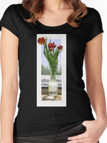 """Three Tulips"" Women's Fitted Scoop T-Shirt"
