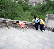 Amazing Child..walking over 1000 steps to get to the top of the Great Wall of China by Laurie Puglia