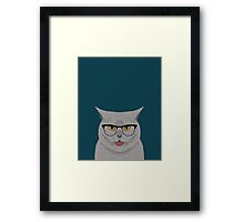 Kai - British shorthair cat gifts for cat lovers, cat lady gifts Cat people gifts, Hipster Glasses Framed Print