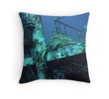 Turtle on Shipwreck Throw Pillow