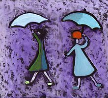 Children with brollies by sword