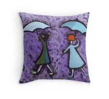 Children with brollies Throw Pillow