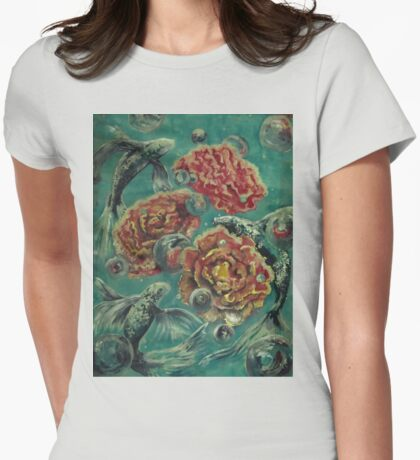 Peonies and Poissons option 2 Womens Fitted T-Shirt