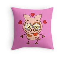 Funny pig feeling madly in love Throw Pillow