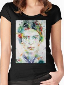 EMILY DICKINSON - watercolor portrait Women's Fitted Scoop T-Shirt