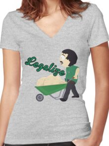 Legalize Marijuana, Randy Marsh South Park style Women's Fitted V-Neck T-Shirt