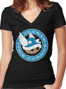 Blue Turtle Shell Women's Fitted V-Neck T-Shirt