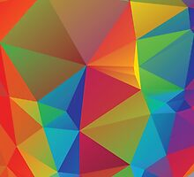 Rainbow Colors Polygonal Background 3 by AnnArtshock