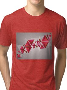 Red 3d Triangles Tri-blend T-Shirt