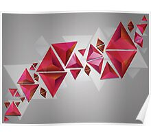 Red 3d Triangles Poster