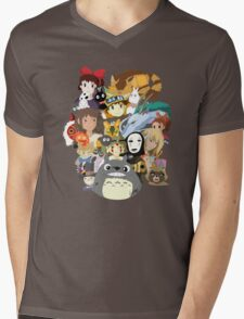 Studio Ghibli Collage Mens V-Neck T-Shirt