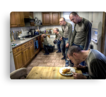 The ascent of Man (eating beans on toast) Canvas Print