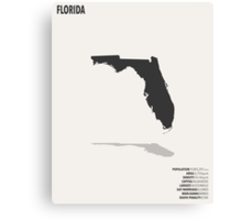 Florida Minimalist State Map with Stats Canvas Print