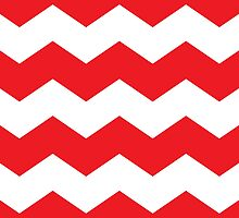 Bright Red and White Chevron Print by itsjensworld