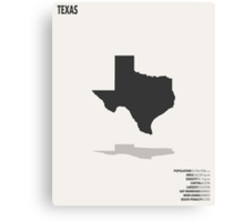 Texas Minimalist State Map with Stats Canvas Print