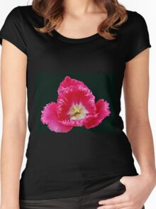 Pink Frilled Tulip on Black Background Women's Fitted Scoop T-Shirt