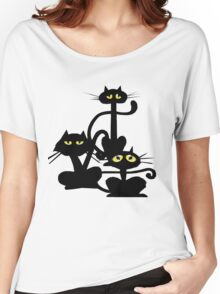 Three Black Cats Women's Relaxed Fit T-Shirt
