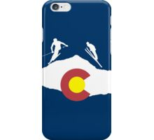 Colorado flag and skiing on mountain slopes iPhone Case/Skin