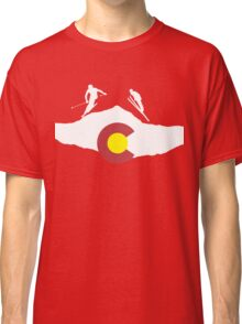 Colorado flag and skiing on mountain slopes Classic T-Shirt