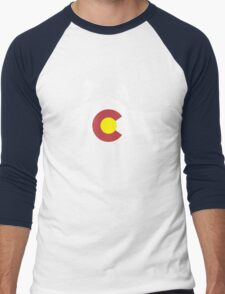 Colorado flag and skiing on mountain slopes Men's Baseball ¾ T-Shirt