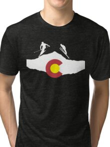 Colorado flag and skiing on mountain slopes Tri-blend T-Shirt
