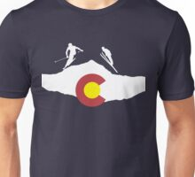 Colorado flag and skiing on mountain slopes Unisex T-Shirt