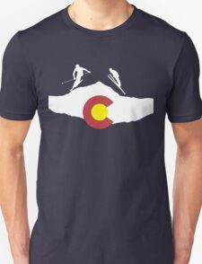 Colorado flag and skiing on mountain slopes T-Shirt