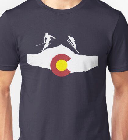 Colorado flag and skiing on mountain slopes Unisex T-Shirt