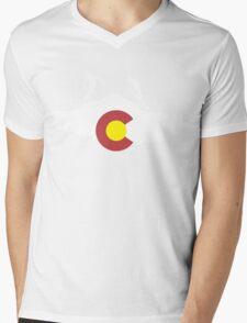 Colorado flag and skiing on mountain slopes Mens V-Neck T-Shirt