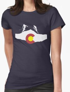 Colorado flag and skiing on mountain slopes Womens Fitted T-Shirt