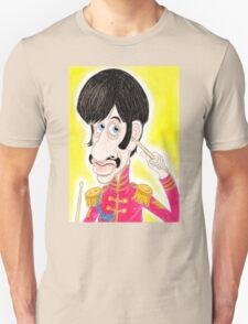 Pop Rock Drummer Caricature Drawing 1960s Unisex T-Shirt