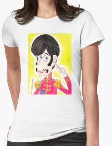 Pop Rock Drummer Caricature Drawing 1960s Womens Fitted T-Shirt