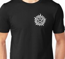 Supernatural Demon Possession Protection (Badge Version) [WHITE] Unisex T-Shirt