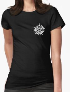 Supernatural Demon Possession Protection (Badge Version) [WHITE] Womens Fitted T-Shirt