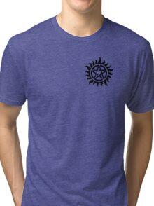 Supernatural Demon Possession Protection (Badge Version) [BLACK] Tri-blend T-Shirt
