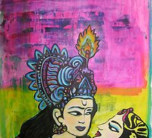 Us   Love themed pop art with vintage Indian imagery by JodiFuchsArt