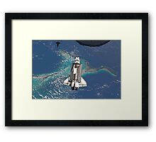 The Space Shuttle in Orbit Around The Earth - As seen from the ISS Framed Print